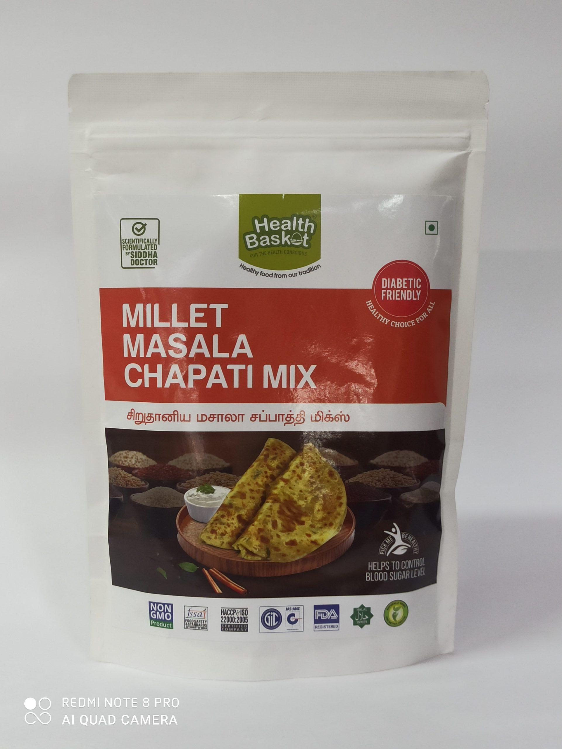 HEALTH BASKET MILLET MASALA CHAPATI MIX 500GM