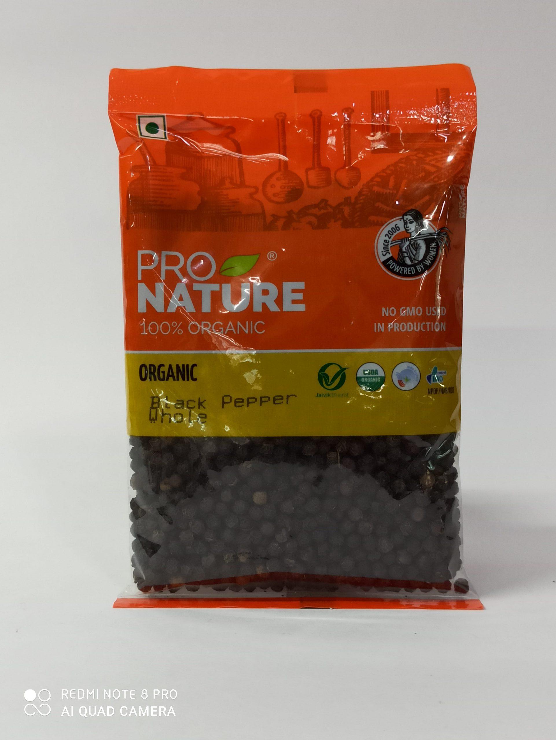 PRO NATURE BLACK PEPPER WHOLE 100GM