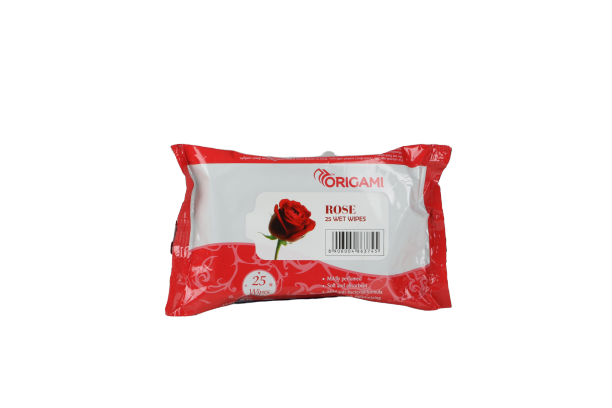 ORIGAMI ROSE WET WIPES 25PC